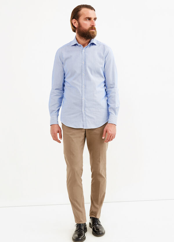 Striped slim-fit casual Rumford shirt | OVS