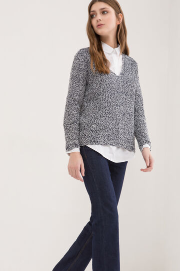 Cotton blend knitted pullover, White, hi-res