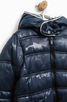 Solid colour bomber jacket with hood, Navy Blue, hi-res