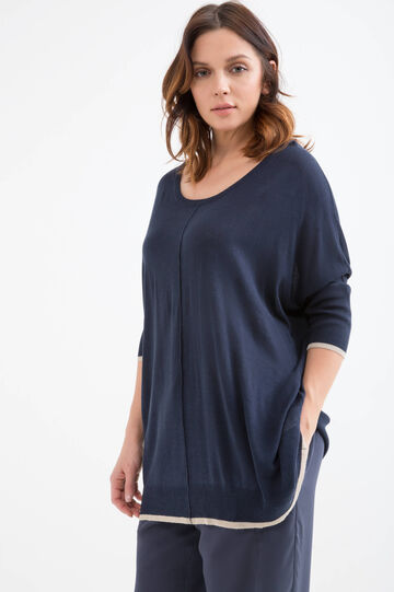 Curvy pullover in viscose blend, Navy Blue, hi-res