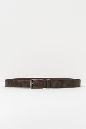 Belt with worn-effect buckle, Dark Brown, hi-res