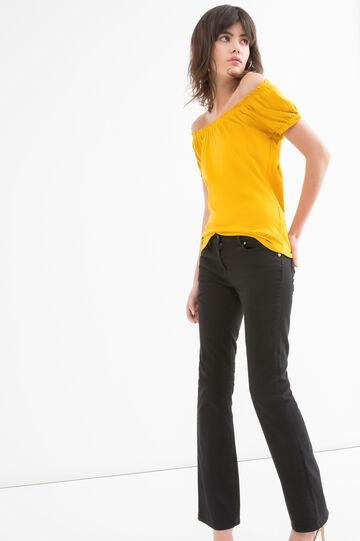 T-shirt puro cotone tinta unita, Giallo, hi-res