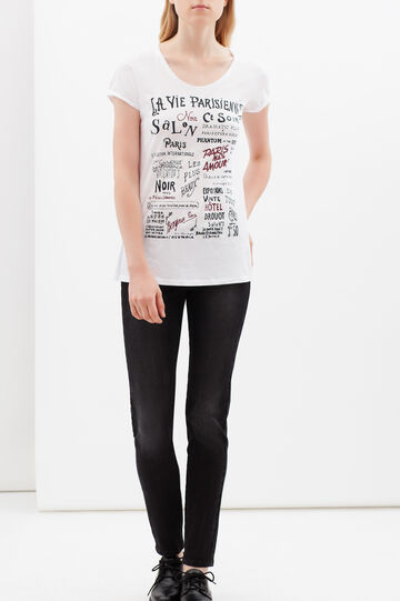 Printed T-shirt with round neck, White, hi-res
