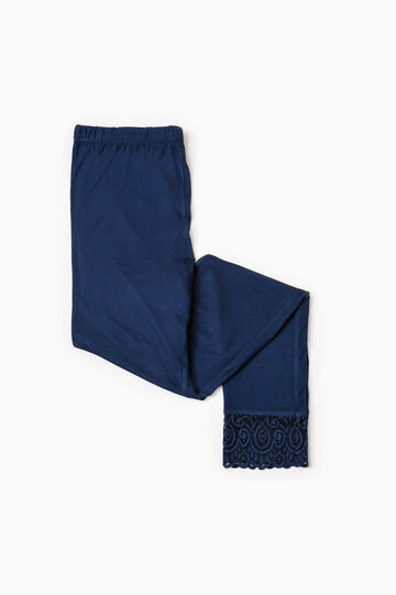 Solid colour viscose pyjama trousers, Navy Blue, hi-res