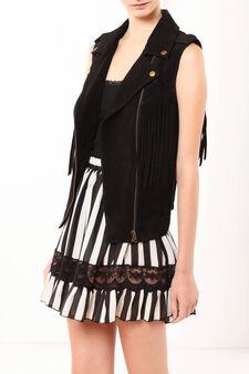 Leather vest with fringes, Black, hi-res