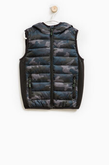 Padded waistcoat with hood, Blue, hi-res