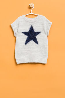 Short-sleeved pullover with embroidery on the chest, White, hi-res
