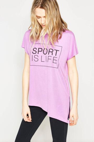 Stretch T-shirt with asymmetric hem, Lilac, hi-res