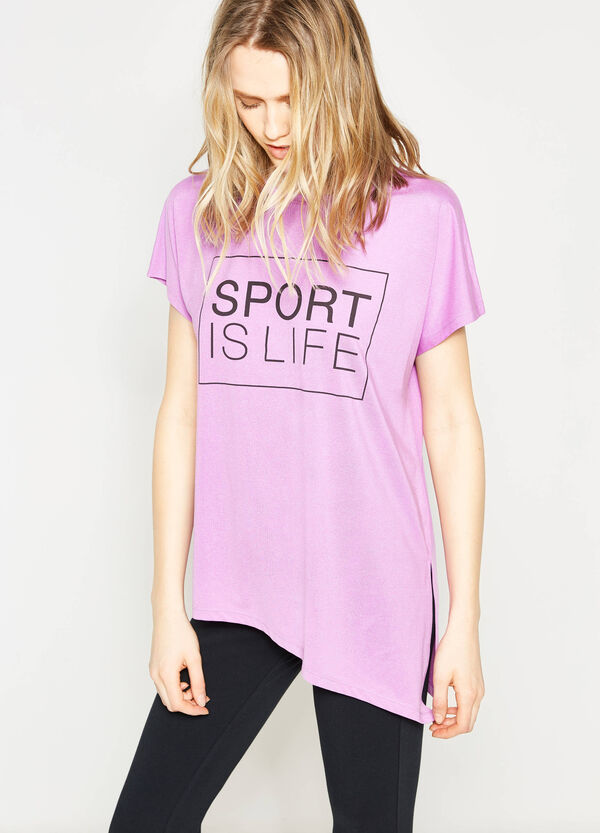 Stretch T-shirt with asymmetric hem | OVS