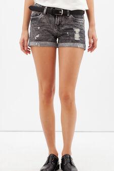 Worn-effect denim shorts, Dark Grey, hi-res