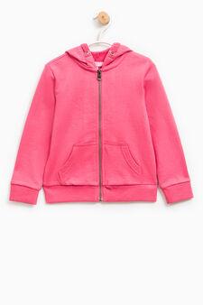 Solid colour 100% cotton sweatshirt, Dark Pink, hi-res