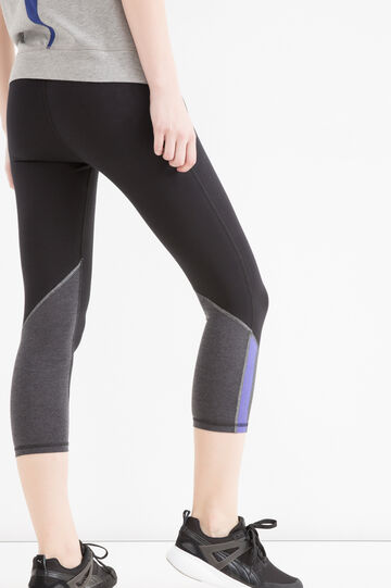 Stretch gym leggings, Black, hi-res