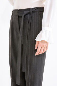 Pantaloni eleganti a righe con cintura, Nero/Grigio, hi-res