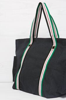 Shopping bag in cotone tasche, Blu, hi-res