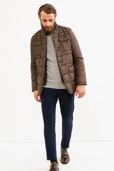 Rumford jacket with high collar in contrasting colour, Brown, hi-res