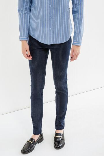 Pantaloni cotone stretch a righe, Blu/Grigio, hi-res