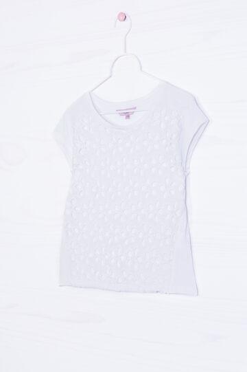 100% cotton T-shirt with openwork insert, White, hi-res