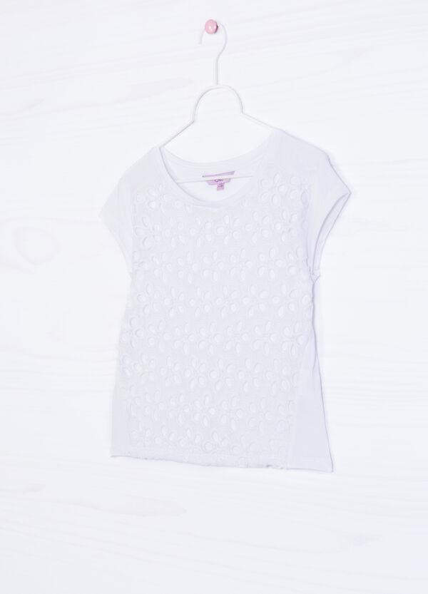 T-shirt puro cotone inserto traforato | OVS