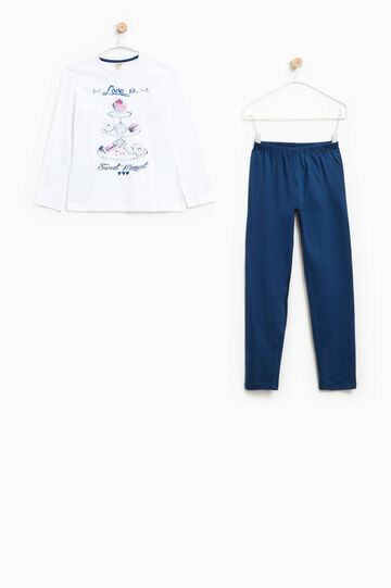 100% Biocotton pyjamas, White/Blue, hi-res