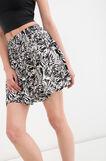 Short patterned skirt in 100% viscose, White/Black, hi-res