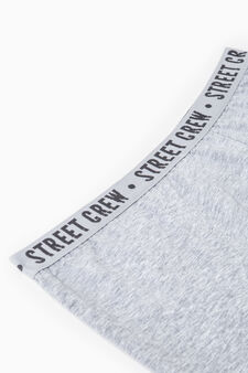Stretch cotton boxer shorts with embroidery, Grey Marl, hi-res