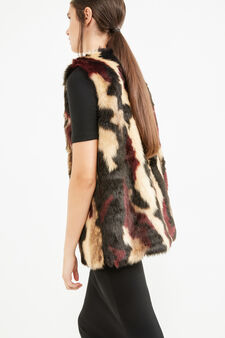 Gilet in ecopelliccia con alamaro, Marrone, hi-res