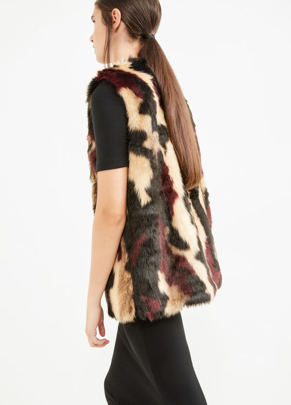 Faux fur gilet with frogging | OVS