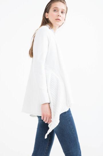 Cardigan in cotone collo a scialle, Bianco, hi-res