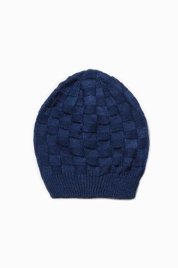 Solid colour knit beanie, Blue, hi-res