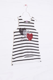 Striped pattern stretch vest, Black/White, hi-res