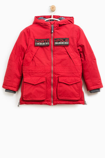 Solid colour jacket with patch, Dark Red, hi-res
