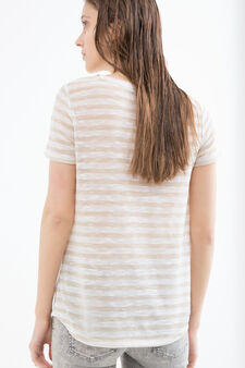 Stretch T-shirt with striped pattern, White/Brown, hi-res