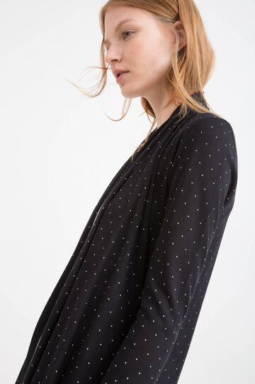 Polka dot pattern viscose cardigan, Black, hi-res