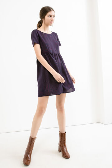 Short crew neck dress in printed viscose, Blue, hi-res