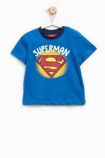 T-shirt in cotone stampa Superman, Blu bluette, hi-res