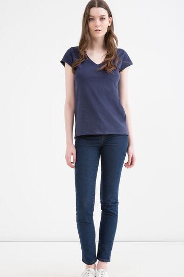 T-shirt puro cotone scollo a V, Blu navy, hi-res