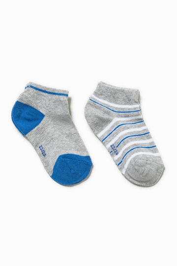 Two-pair pack solid colour and striped socks, Grey Marl, hi-res