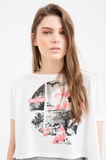 T-shirt cotone finto doppio Maui and Sons, Bianco/Grigio, hi-res