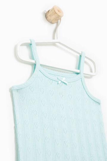 100% Biocotton underwear top with hearts, Aqua Blue, hi-res