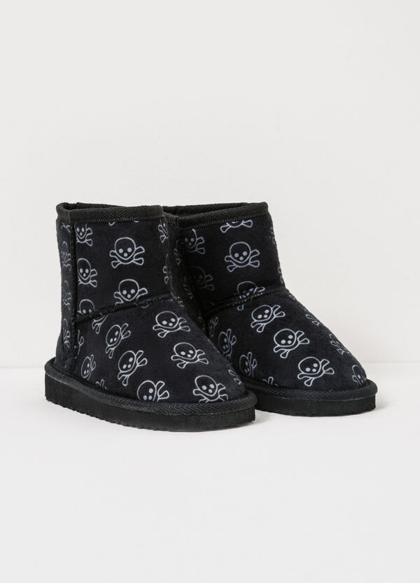 Canvas ankle boots with skull pattern | OVS