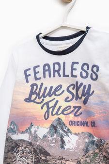 Cotton T-shirt with maxi print, Soft Blue, hi-res