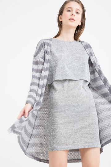 Striped pullover in viscose blend, White/Grey, hi-res
