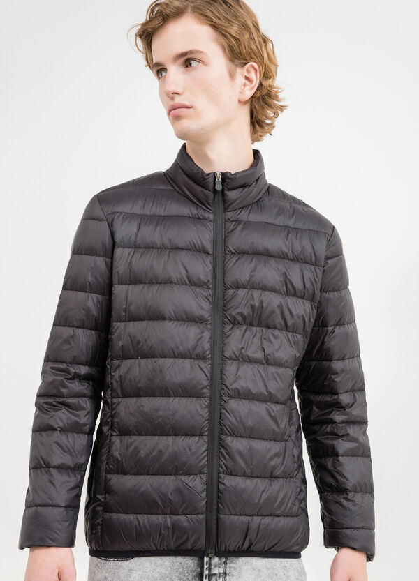 Down jacket with welt pockets with zip | OVS