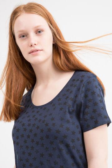 T-shirt puro cotone fantasia Curvy, Blu navy, hi-res