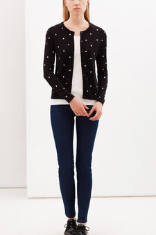 Cardigan with all-over print, White/Black, hi-res