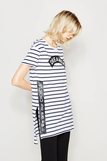 Long striped T-shirt with print