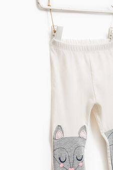 Cotton trousers with glitter print, Milky White, hi-res