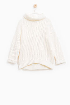 Cotton knitted pullover with high neck, Milky White, hi-res