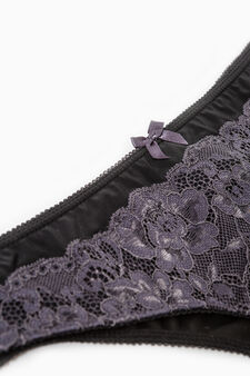 Stretch Brazilian-cut briefs with bow and lace, Black, hi-res