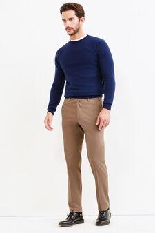 Rumford trousers with crease, Khaki, hi-res